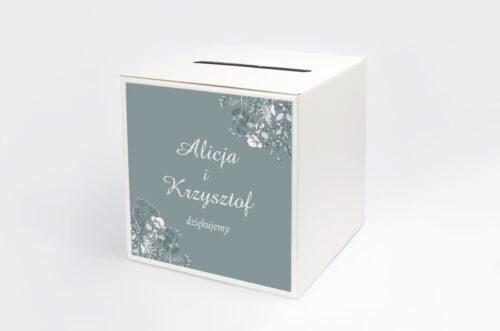 Personalizowane pudełko na koperty - Duże Inicjały - Kwiatuszki Polne