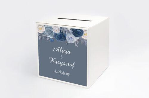 Personalizowane pudełko na koperty - Duże Inicjały - Niebieskie Róże