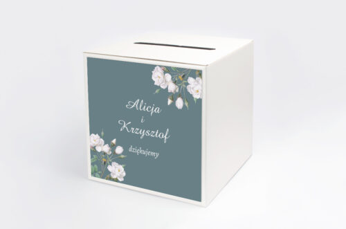 Personalizowane pudełko na koperty - Duże Inicjały - Białe Róże