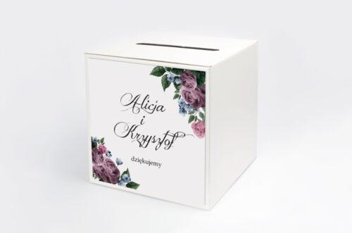 Pudełko na koperty do zaproszenia Botaniczne – Fioletowe róże