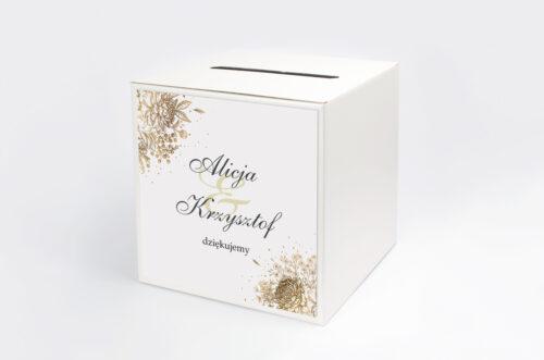 Personalizowane pudełko na koperty - Geometryczne Kwiaty - Złoty bukiet