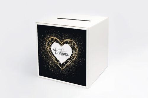 Personalizowane pudełko na koperty - Geometryczne Serce - Złoto