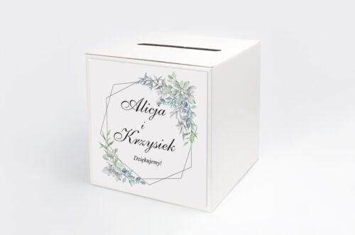 Personalizowane pudełko na koperty - Geometryczne ze zdjęciem - Zimowe Listki