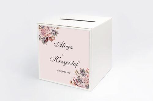 Personalizowane pudełko na koperty - Kwiatowe Gałązki - Różowo-Bordowe Róże