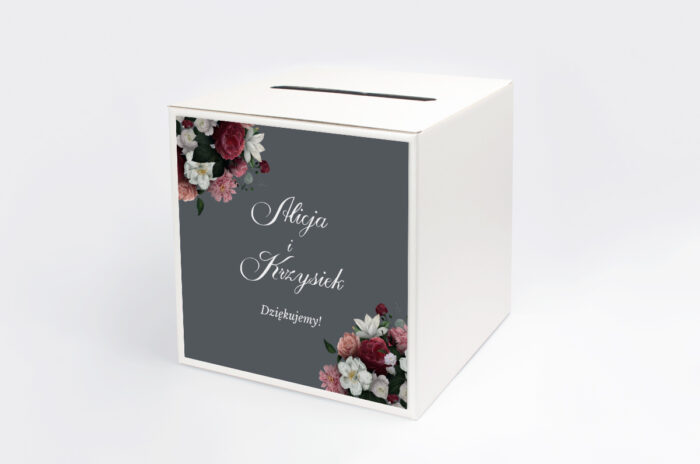personalizowane-pudelko-na-koperty-kwiatowe-nawy-burgundowy-bukiet-papier-satynowany-pudelko-