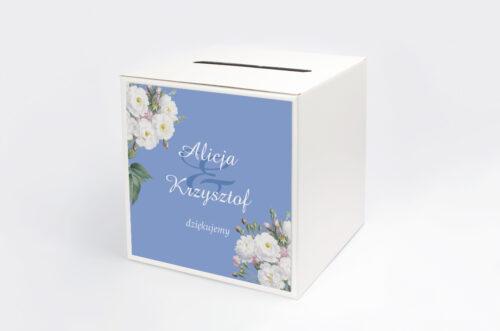 Personalizowane pudełko na koperty - Kwiatowe Nawy - Białe róże