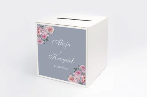 Personalizowane pudełko na koperty - Kwiatowe Nawy - Różowe różyczki