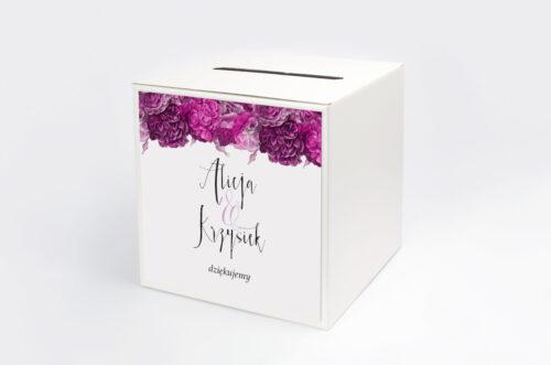 Pudełko na koperty do zaproszenia Kwiaty&Srebro - Fuksjowe piwonie