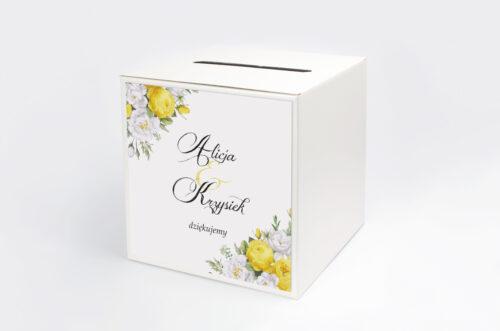Pudełko na koperty do zaproszenia Kwiaty&Złoto - Żółte róże