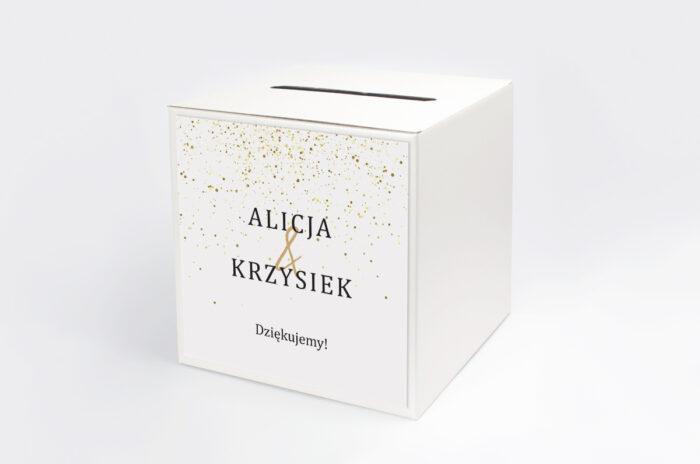 personalizowane-pudelko-na-koperty-do-zaproszenia-minimalistyczne-ze-zlotem-zlote-kropeczki-papier-satynowany-pudelko-