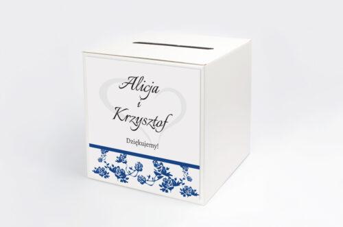 Personalizowane pudełko na koperty do zaproszenia Ornament z kokardką na pasku - wzór 3