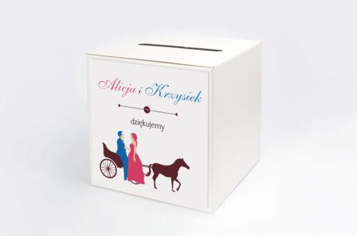 Personalizowane pudełko na koperty do zaproszenia Red & Blue - Powóz