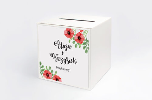 Pudełko na koperty do zaproszenia Kwiaty: Czerwone maki
