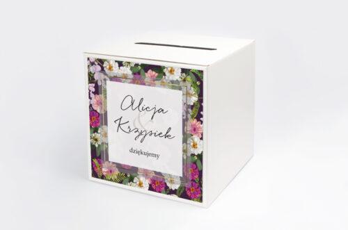 Pudełko na koperty do zaproszenia Tło z kwiatów – Kolorowe astry