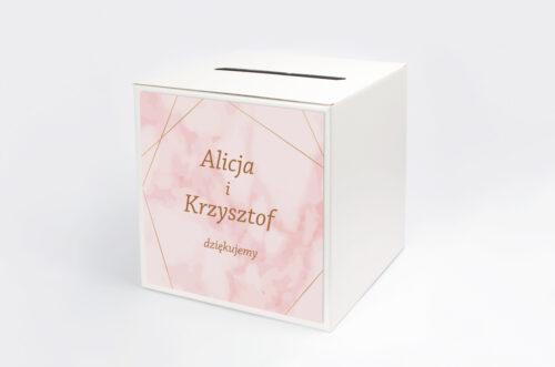Personalizowane pudełko na koperty - Kontrastowe z nawami - Złota Geometria & Różowy Marmurek