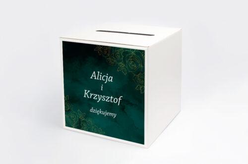 Personalizowane pudełko na koperty - Kontrastowe z nawami - Złote Różyczki