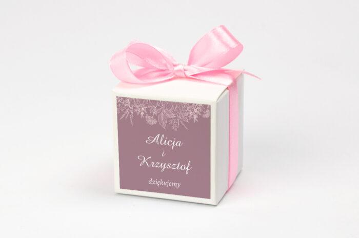 Pudełeczko z personalizacją na krówki do zaproszenia - Duże Inicjały - Konturowe Kwiaty