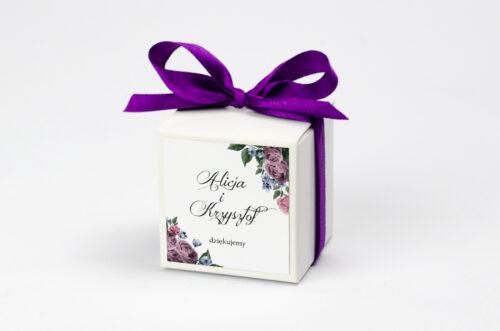 Ozdobne pudełeczko na krówki z personalizacją zaproszenia Botaniczne – Fioletowe róże