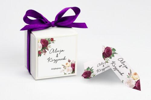 Pudełeczko z personalizacją na krówki do zaproszenia - Eleganckie kwiaty - Bordowe róże