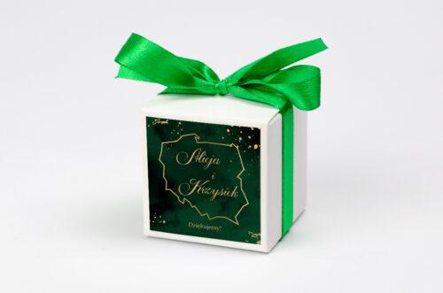 Ozdobne pudełeczko na krówki z personalizacją - Eleganckie - Szmaragdowe