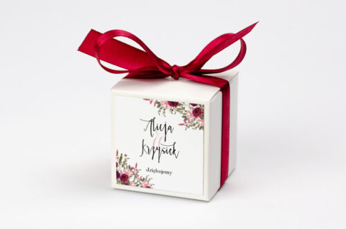 Pudełeczko z personalizacją do zaproszenia Akwarelowe Bukiety – Burgundowe róże na jasnym tle