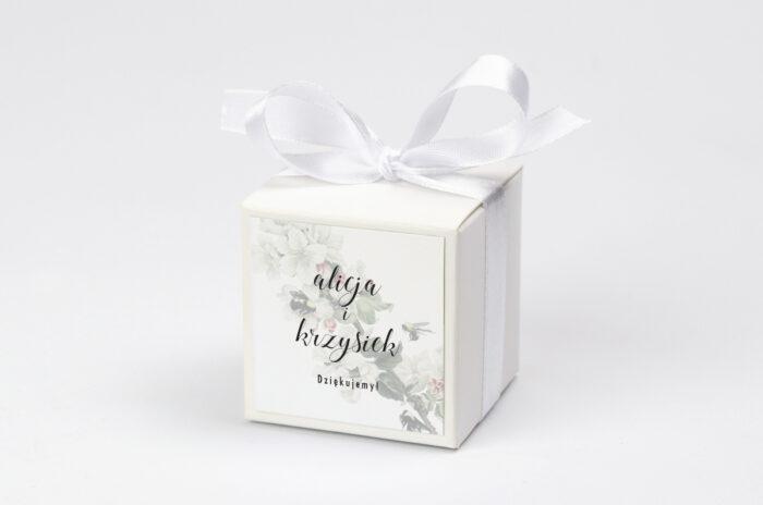 Ozdobne pudełeczko na krówki z personalizacją - Botaniczne Jednokartkowe - Kwiat Jabłoni