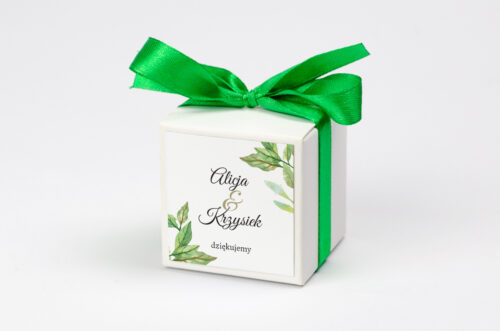 Ozdobne pudełeczko na krówki z personalizacją - Botaniczne Jednokartkowe - Zielone liście
