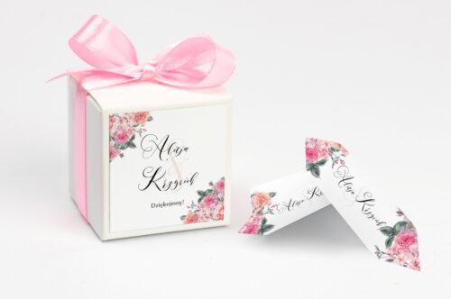 Ozdobne pudełeczko na krówki z personalizacją do zaproszenia Angielskie Róże – Różowe i Herbaciane