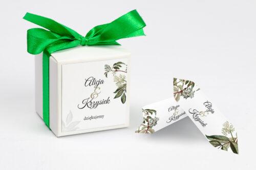 Ozdobne pudełeczko na krówki z personalizacją - Botaniczne Jednokartkowe - Czarny bez