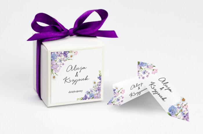 Ozdobne pudełeczko z personalizacją na krówki - Eleganckie kwiaty - Polny wianek