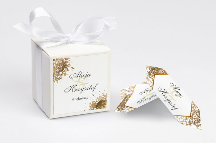 Ozdobne pudełeczko na krówki z personalizacją - Geometryczne Kwiaty - Złoty bukiet