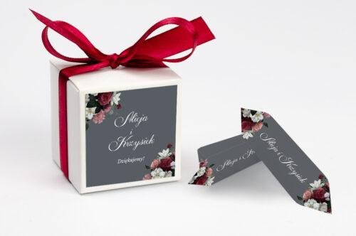 Ozdobne pudełeczko z personalizacją - Kwiatowe Nawy - Burgundowy bukiet