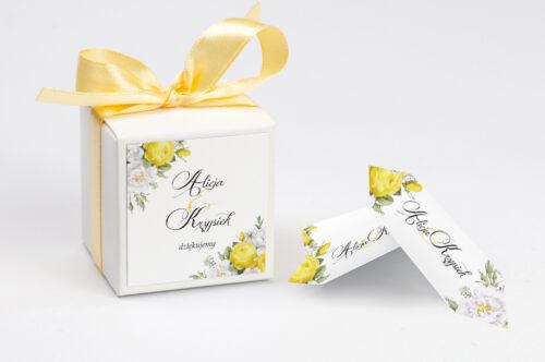 Ozdobne pudełeczko na krówki z personalizacją Kwiaty&Złoto - Żółte róże