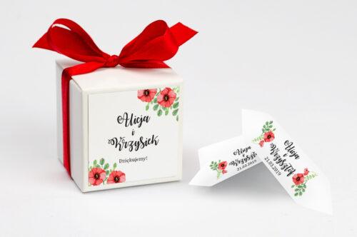 Ozdobne pudełeczko na krówki z personalizacją zaproszenia Kwiaty: Czerwone maki