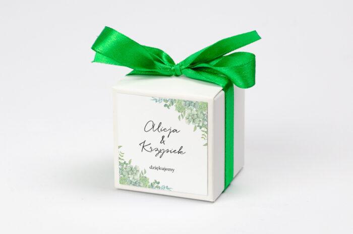 Pudełeczko z personalizacją na krówki do zaproszenia - Eleganckie kwiaty - Sukulenty