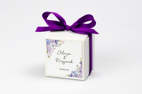 Pudełeczko z personalizacją na krówki do zaproszenia - Eleganckie kwiaty - Polny wianek