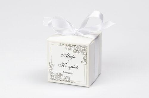 Ozdobne pudełeczko na krówki z personalizacją - Geometryczne ze zdjęciem - Biała Kompozycja