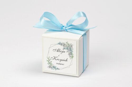 Ozdobne pudełeczko na krówki z personalizacją - Geometryczne ze zdjęciem - Zimowe Listki
