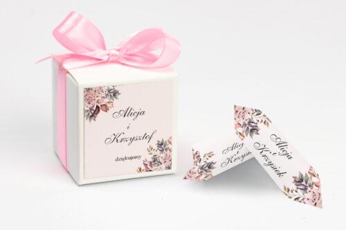Pudełeczko z personalizacją - Kwiatowe Gałązki - Różowo-Bordowe Róże