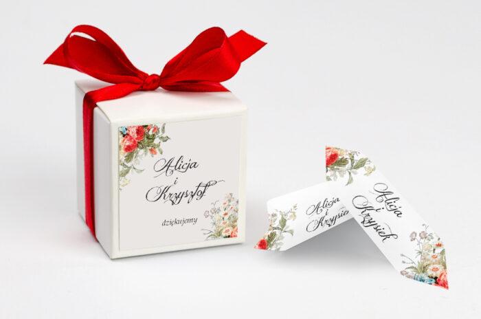 Ozdobne pudełeczko na krówki z personalizacją - Kwiatowe Gałązki - Białe Kalie