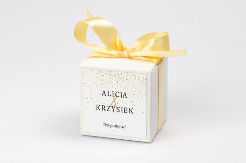 personalizowane pudełeczko na krówki - minimalistyczne złote kropeczki