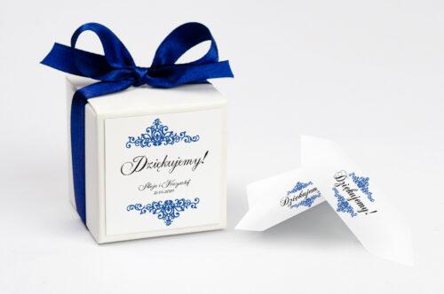 Pudełeczko z personalizacją - Eleganckie ślubne 3D - Niebieskie