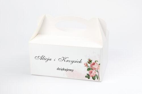 Ozdobne pudełko na ciasto - Geometryczne ze zdjęciem - Różowe Różyczki
