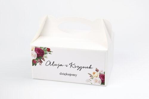 Ozdobne pudełko na ciasto - Eleganckie kwiaty - Bordowe róże