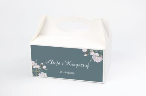 Ozdobne pudełko na ciasto - Duże Inicjały - Białe Róże
