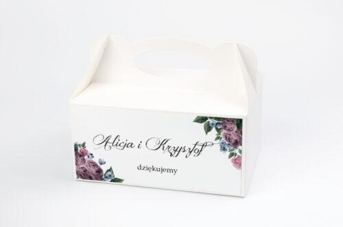 Ozdobne pudełko na ciasto Botaniczne – Fioletowe róże