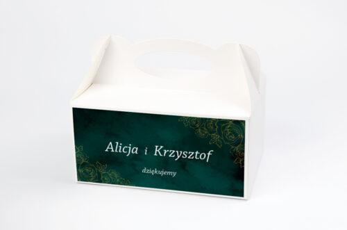 Ozdobne pudełko na ciasto - Kontrastowe z nawami - Złote Różyczki