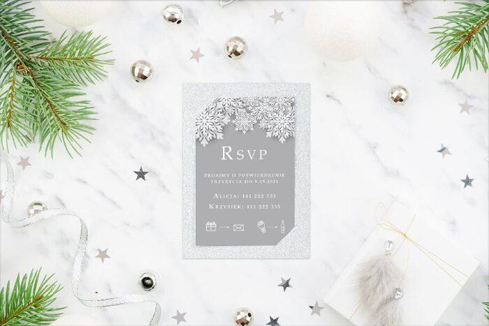 rsvp do zaproszęń ślubnych zimowych