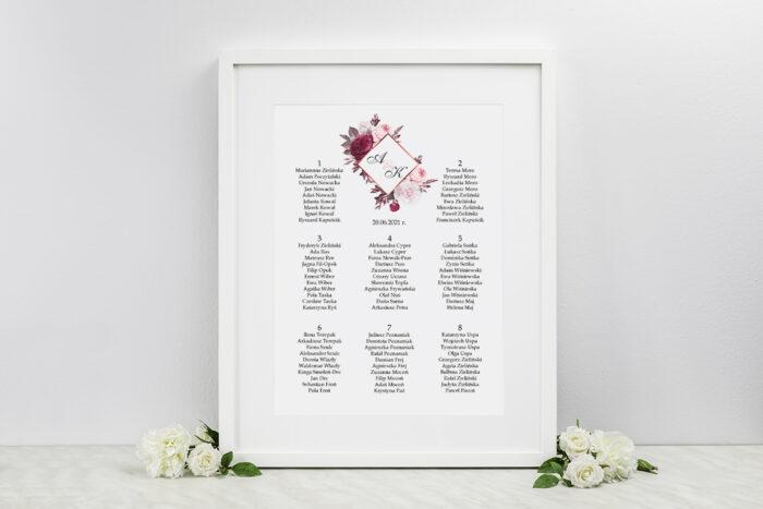 plan-stolow-weselnych-do-zaproszen-geometryczne-kwiaty-amarantowy-bukiet-dodatki-ramka-papier-satynowany