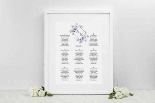 Plan stołów weselnych do zaproszeń Geometryczne Kwiaty - Błękitne kwiaty